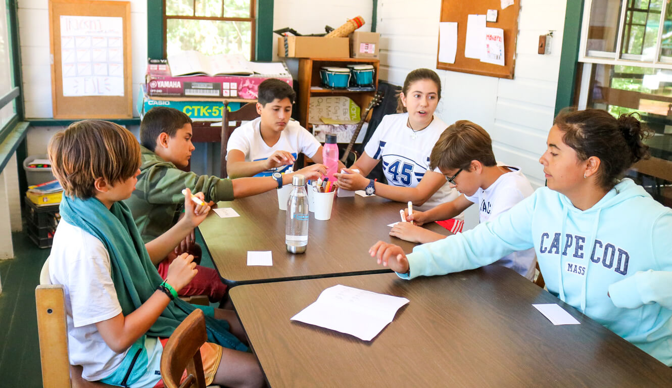 Group of campers sits around table for education activity